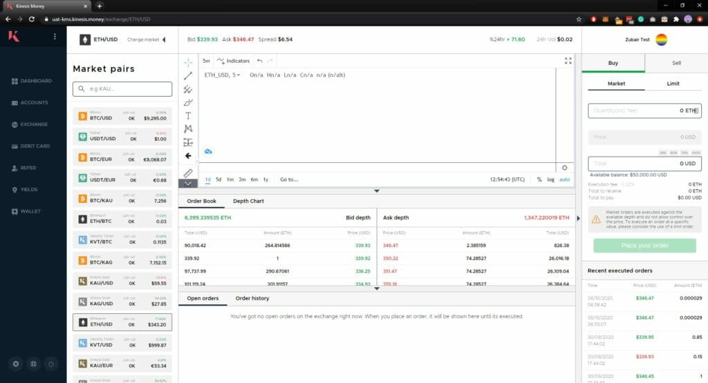 Exchange currencies and cryptocurrencies with Kinesis
