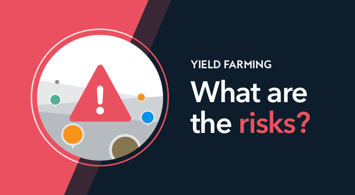 yield farming - what are the risks? a warning graph with exclamation mark on a red background
