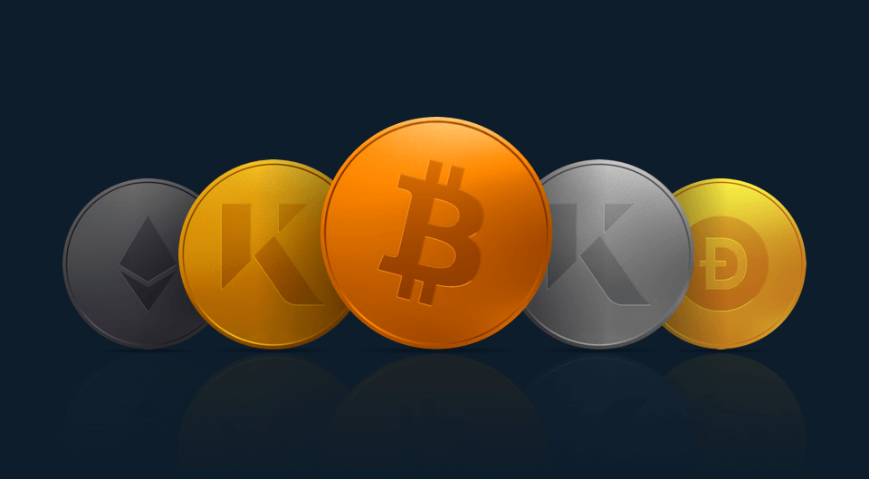 5 crypto coins depicted, bitcoin, KAU, KAG, DOGECOIN and ETHEREUM on a navy background