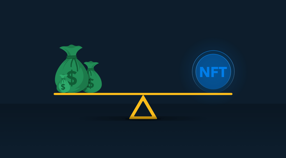 scale balancing a bag of dollars on the left and NFT on the right