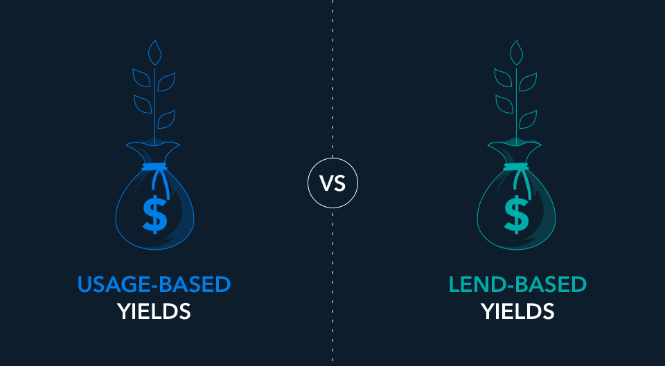 image showing two different yields: usage-based vs lend-based